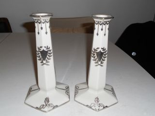 Antique Lenox Belleek Sterling Silver Overlay Tall Candlesticks,  Nr photo