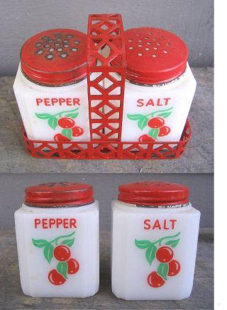 Antique Tipp Milk Glass Salt & Pepper Set - - With Red Metal Carrier photo