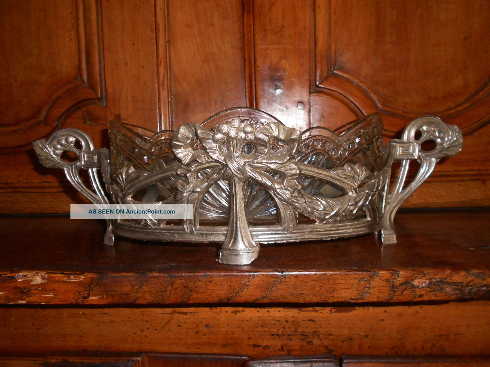 Antique French Pewter Cut Glass Ornate Jardiniere Planter