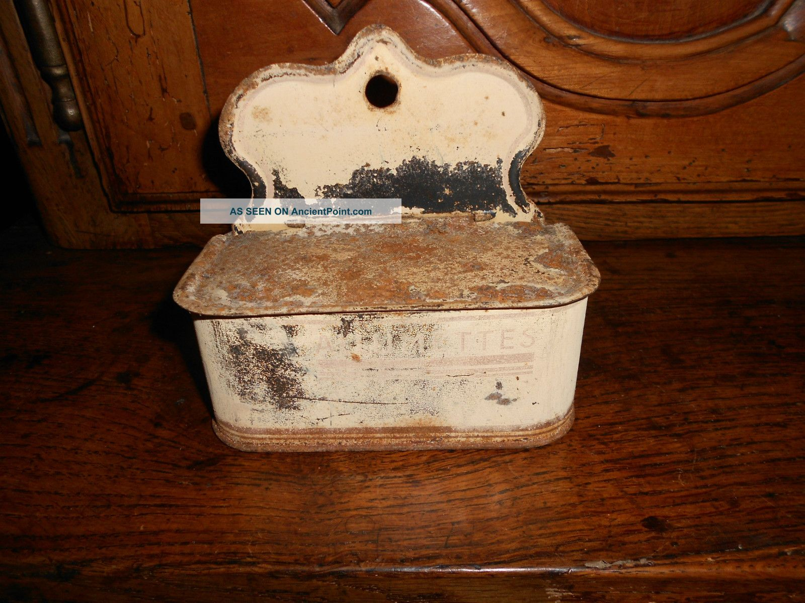 Antique French Tin Match Box : Allumettes Metalware photo