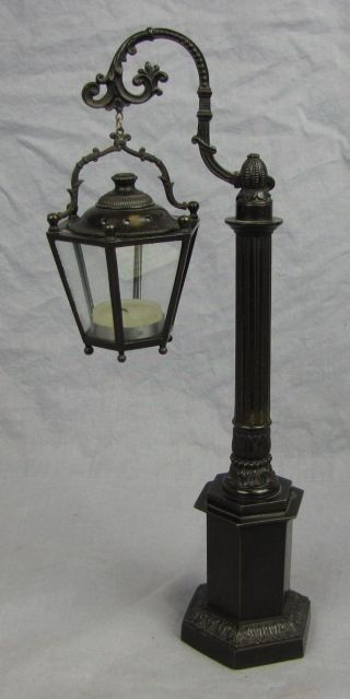 Fabulous Antique Bronze Street Lamp Candle Holder photo