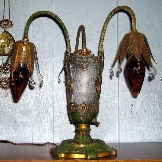 Antique Art Nouveau Polychrome Cast Iron Ribbed Panels Table Lamp,  Rewired photo