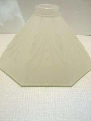 Pair Lovely Art Deco Style Frosted Holophane Glass Lamp Shades 1986 Lancaster photo