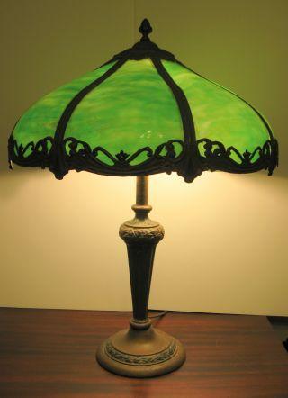 Antique 1920s 8 Panel Green Slag Glass Table Lamp Polychrome Metal Overlay photo
