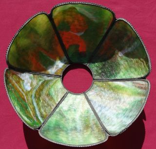A Vintage Handel Bronze Slag Glass Lamp Shade photo