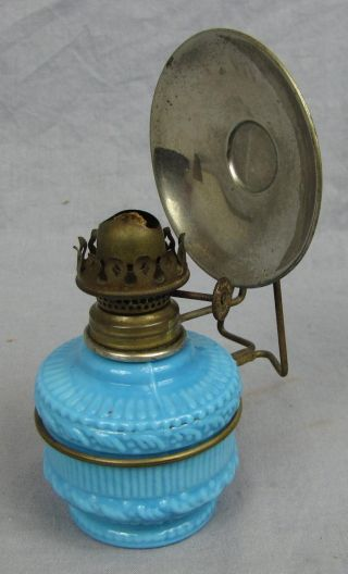 Antique Blue Milk Glass Base Miniature Lamp With Reflector photo