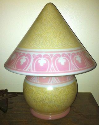 Art Deco Czech Bellova Pink Art Glass Lamp photo
