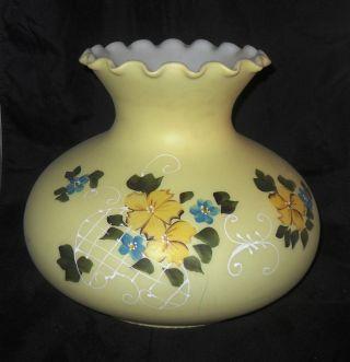 Large Yellow Hand Painted Milk Glass Lamp Shade photo