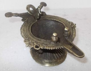 Antique Vintage Rare Old Peacock Figure Brass Temple Oil Lamp / Deepak photo