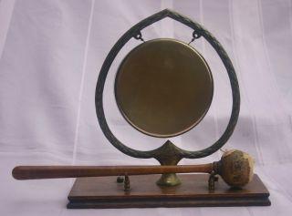 Victorian English Oak & Brass Gong Ace Of Spades Shape photo