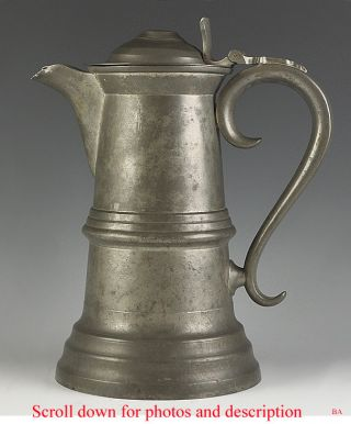 Mid - 1800s Very Large American Pewter Flagon photo