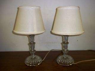 Pair Of Antique Clear Glass Stacking Flowers Boudoir Table Lamps & Shades photo