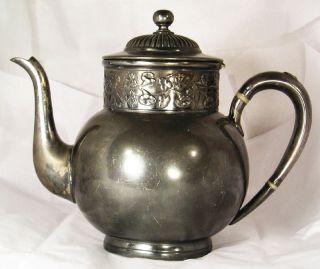 Vintage Or Antique Quadruple Plate Meriden Teapot Large D4 photo