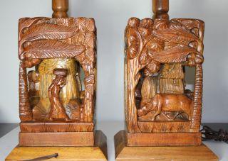 Vintage Large Hand Carved Wood Lamps Teak Wood Set Of Two Bases photo