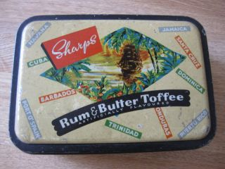 Sharps Rum & Butter Toffee Tin King George Vi England Box Advertising Tropical photo