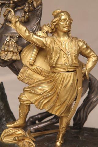 Fine Antique French Empire Gilt Bronze Equestrian Sculpture Statue Zouave C.  1860 photo