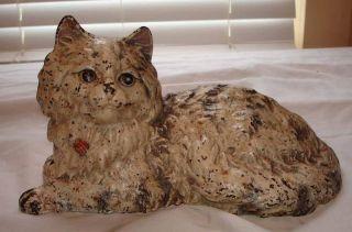 Antique Hubley Cast Iron Fireside Cat Doorstop Marked photo