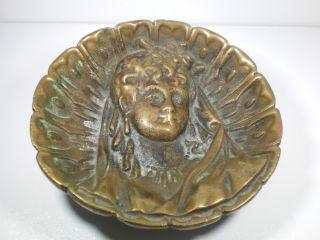 Antique Bronze Figural Footed Dish Spanish Maiden photo