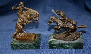 Pair Frederic Remington Replica Bronze Fine Art Desk Statues Green Marble Base photo