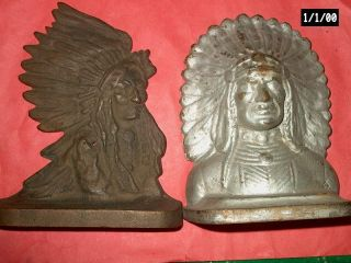 2 Antique 1910 - 20s Solid Brass Native American Indian Chiefs Bookends - Not A Pair photo