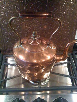 Gorgeous Antique 19th C Solid 4 Lb Copper Kettle Decorative 4 Adoption photo