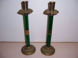 Antique Brass & Green Glass Candle Holders - Lamp Bases photo