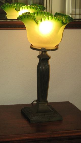 Antique Victorian Electric Table Lamp Green Shade Brass Stand Art Nouveau photo
