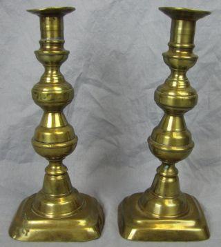 Large Antique Brass Push Up Candlesticks 1 Rectangular Base photo