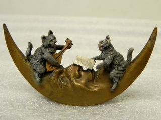 Rare Vienna Bronze Cats Sings On The Moon Cold Painted Outstanding photo