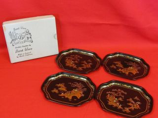 Vintage Set Of 4 Baret Ware China Garden Serving Trays In Box No 154 photo