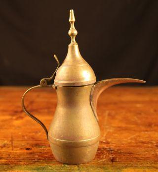 Vintage Ornate Brass Turkish Coffee Kettle photo
