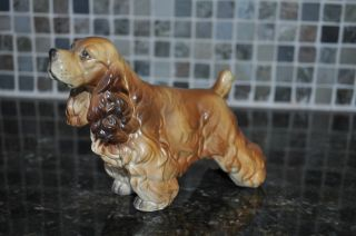 Porcelain Pottery Cocker Spaniel Dog Figurine Gold Brown 5