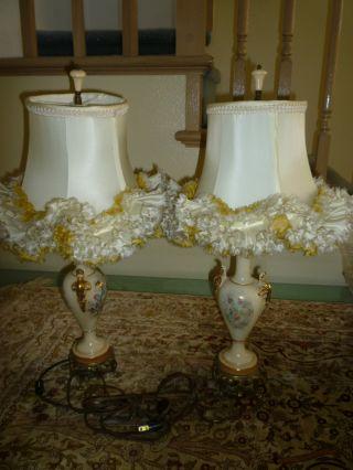 Vintage Antique Pair Victorian Style Porcelain Side Table Lamp photo
