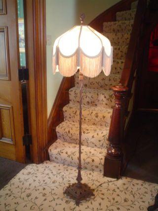 Antique Iron Deco Victorian Candelabra Style 2 Socket Floor Lamp photo