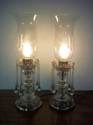 2 Antique Glass Boudoir Table Lustre Lamps Etched Globes & Water Drip Crystals photo