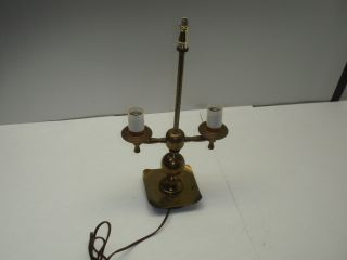 Antique Solid Brass Electric Metal Table Lamp Light Old photo