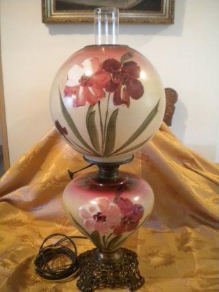 Antique Gwtw Hand Painted Floral Parlor Lamp photo