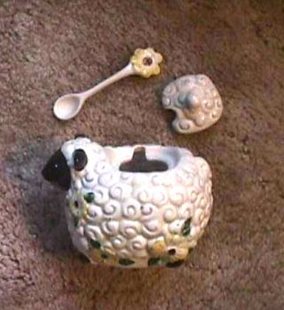 Ceramic Lamb Sheep Sugar Bowl With Lid & Flowered Spoon Cracker Barrell photo