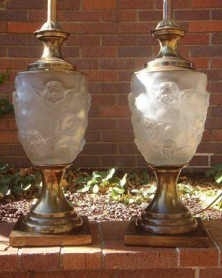 Frederick Cooper Art Deco Glass Table Lamps - Hollywood Regency - Angel/cherub/putti photo
