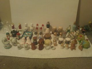 Salt Pepper Shakers Old Antique Lot Figurines Collectors Sets Home Dinner Ware C photo
