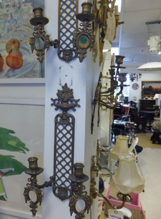 A Pair Of Rococo Style Swedish Appliques/sconces,  Early 1900s.  Not Electrified. photo