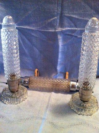 Set Of 3 Art Deco Glass Lamps 2 Boudoir/vanity Rocket Lamps And 1 Headboard Lamp photo