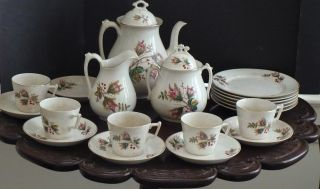 20 Pc + 2 Lids Imperial Warranted China Ca.  1800 Ironstone Moss Rose Quite Rare photo