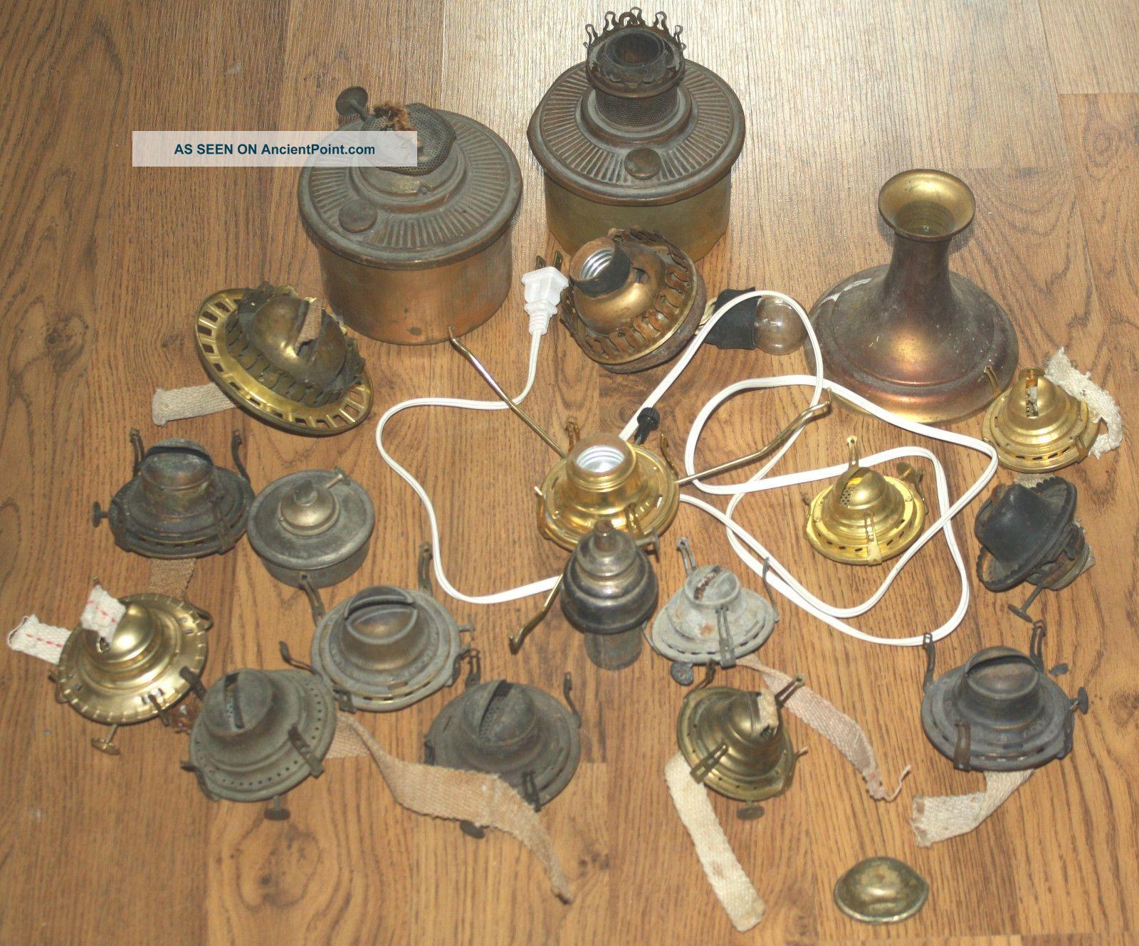 Assorted vintage antique oil kerosene lamp lantern repair parts mozeypictures Images