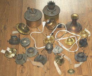 Assorted Vintage Antique Oil Kerosene Lamp Lantern Repair Parts photo