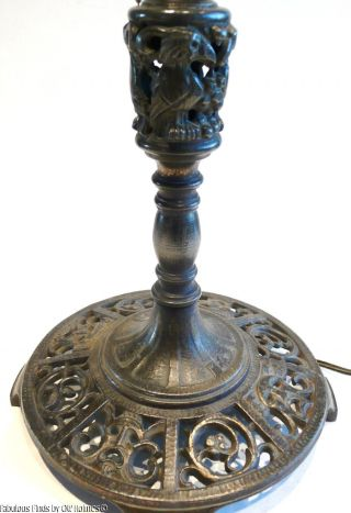 Must See Antique C.  1920s Oscar Bach Table Lamp Base Masks Birds Metal Art Deco photo