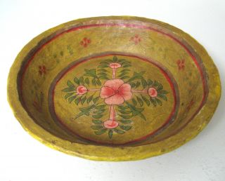 Vintage Toleware Paper Mache Fruit Bowl Hand Painted Made In India Yellow Pink photo