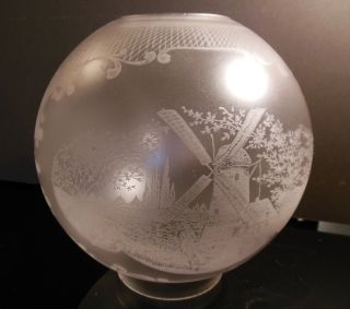 Fine Antique 19th C Etched Ball Shade For Gone W/ Wind,  Banquet,  Piano Oil Lamp photo