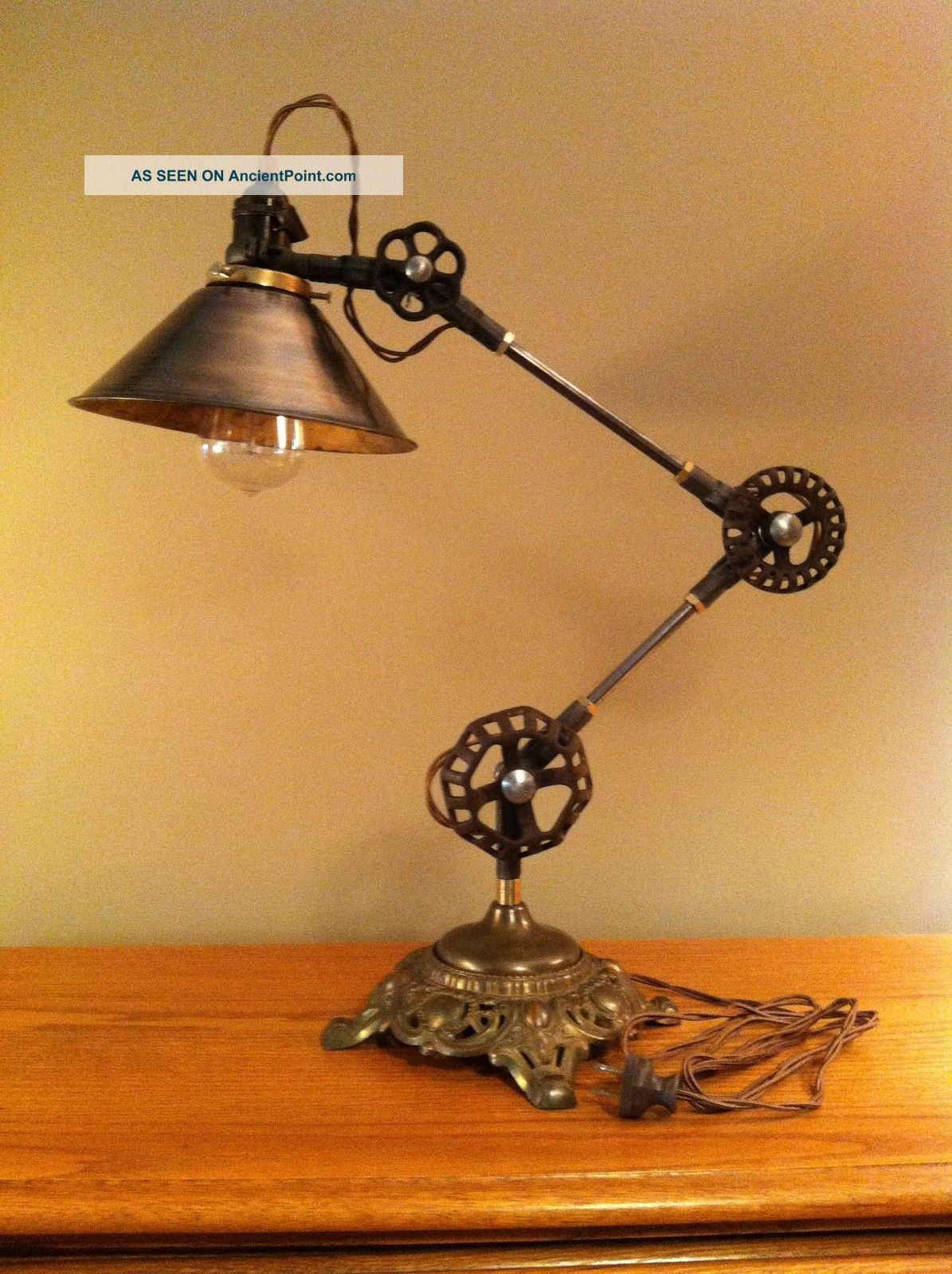 Vintage Industrial Desk Lamp - Machine Age Task Light - Cast Iron - Steampunk Lamps photo