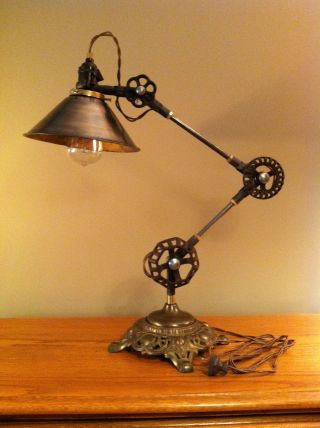 Vintage Industrial Desk Lamp - Machine Age Task Light - Cast Iron - Steampunk photo